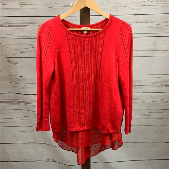 Lucky Brand Sweaters - Lucky Brand Red Knit Sweater w/Sheer Panel